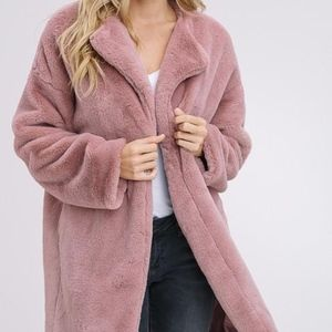 23aef0bf85fa Jackets & Blazers - Faux Rabbit Fur Coat in Mauve